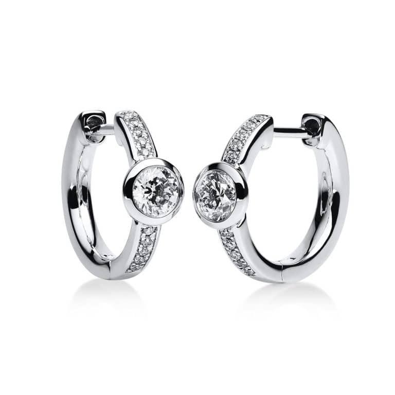 14 kt fehérarany karika és huggie 22 gyémánttal 2B651W4-1