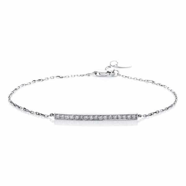 14 kt fehérarany karkötő 17 gyémánttal 5A540W4-1