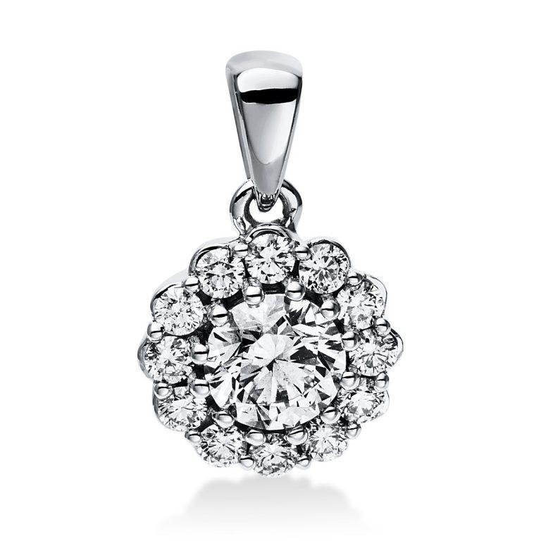 14 kt fehérarany medál 13 gyémánttal 3E042W4-1