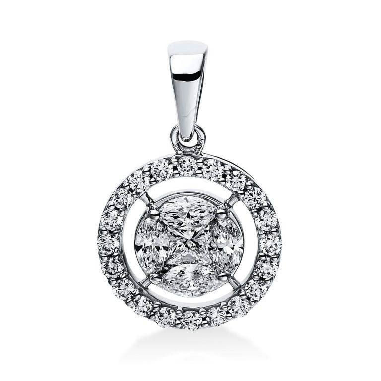 14 kt fehérarany medál 25 gyémánttal 3E046W4-1
