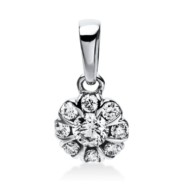 14 kt fehérarany medál 9 gyémánttal 3E027W4-1