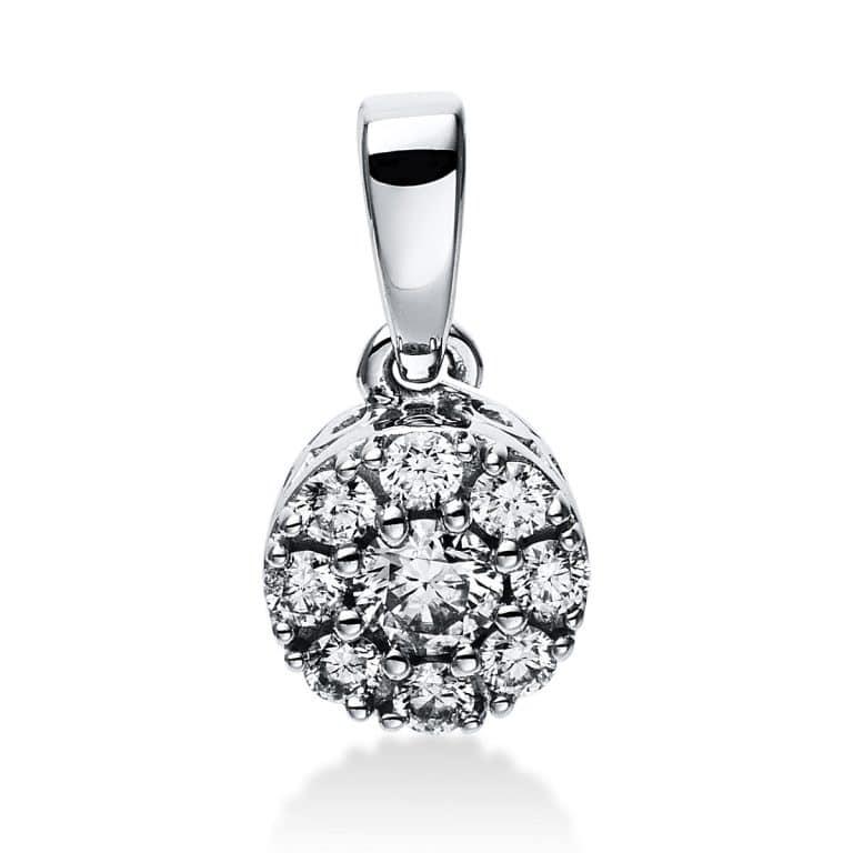 14 kt fehérarany medál 9 gyémánttal 3E048W4-1
