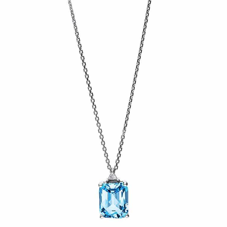 14 kt fehérarany nyaklánc 1 gyémánttal