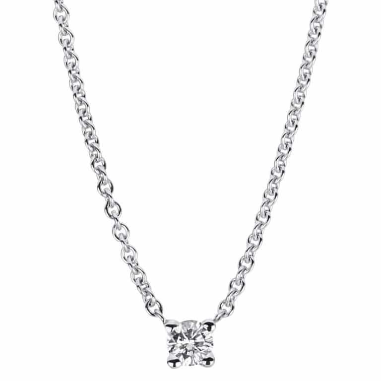 14 kt fehérarany nyaklánc 1 gyémánttal 4A027W4-5