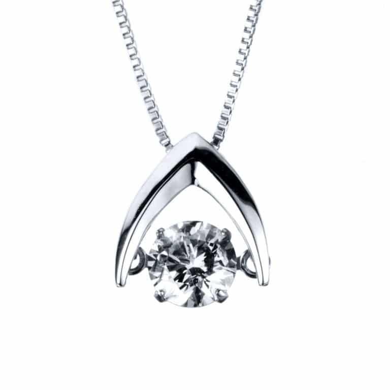 14 kt fehérarany nyaklánc 1 gyémánttal 4A090W4-2