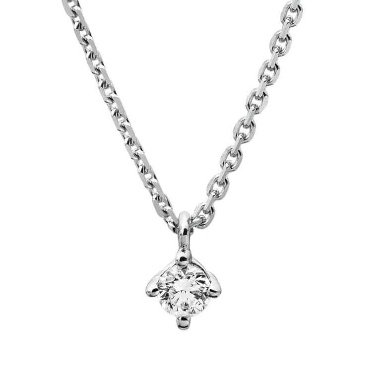 14 kt fehérarany nyaklánc 1 gyémánttal 4A307W4-5