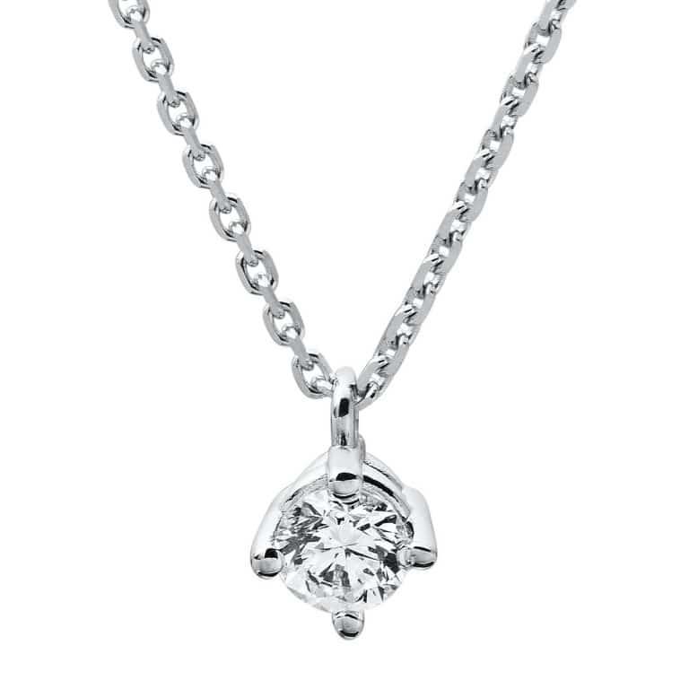 14 kt fehérarany nyaklánc 1 gyémánttal 4A309W4-6