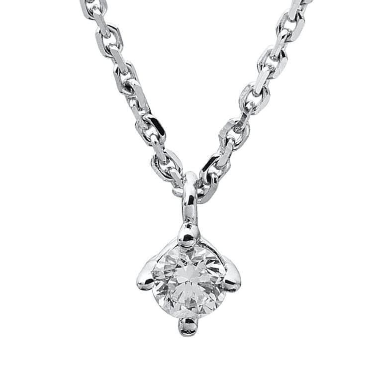 14 kt fehérarany nyaklánc 1 gyémánttal 4A310W4-9