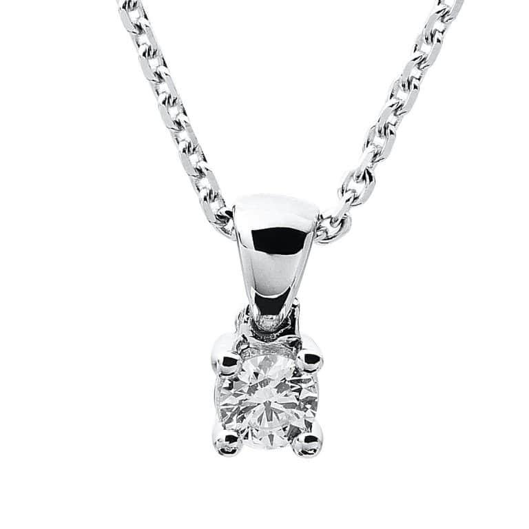 14 kt fehérarany nyaklánc 1 gyémánttal 4A316W4-4