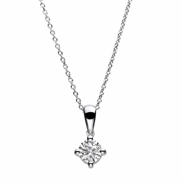 14 kt fehérarany nyaklánc 1 gyémánttal 4A783W4-1
