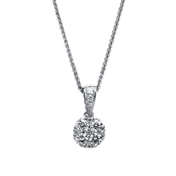 14 kt fehérarany nyaklánc 15 gyémánttal 4A713W4-1