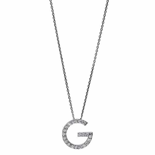 14 kt fehérarany nyaklánc 21 gyémánttal 4F742W4-1
