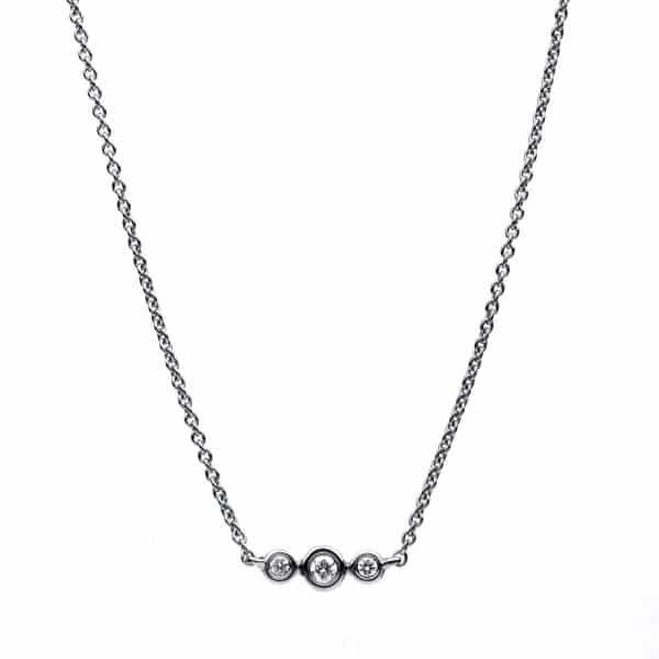 14 kt fehérarany nyaklánc 3 gyémánttal 4B026W4-4