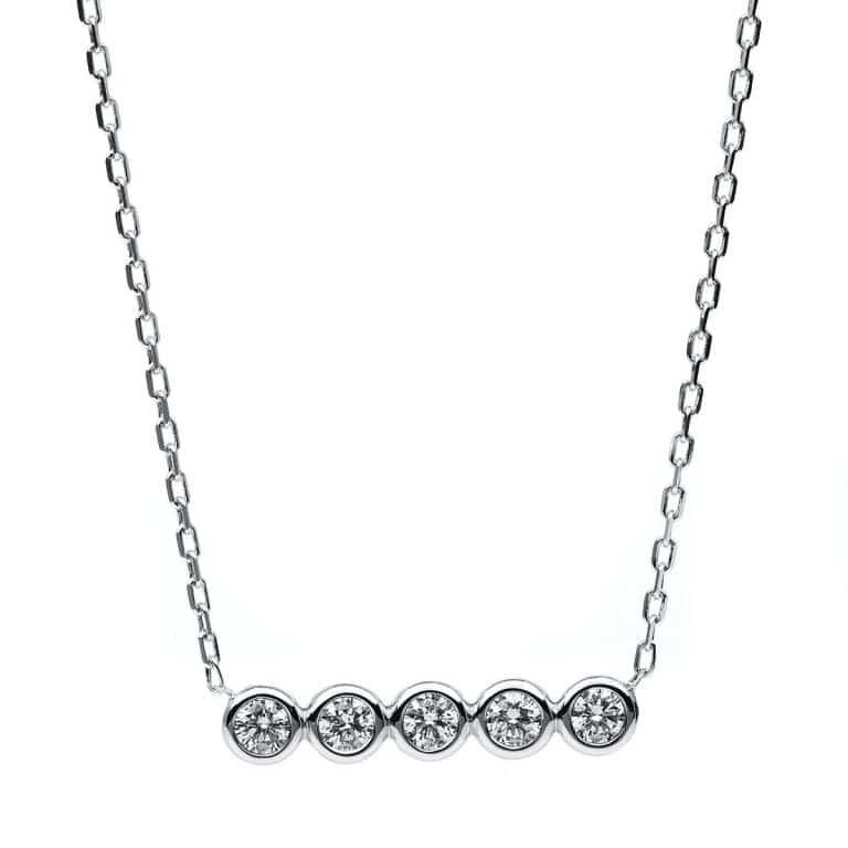 14 kt fehérarany nyaklánc 5 gyémánttal 4B530W4-1