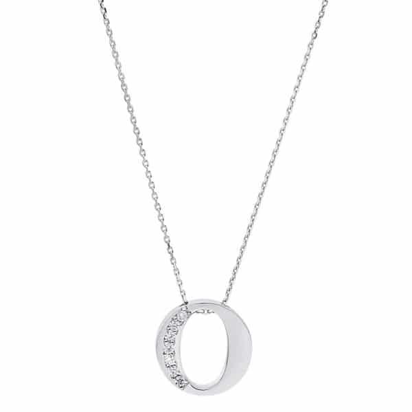 14 kt fehérarany nyaklánc 7 gyémánttal 4A442W4-1