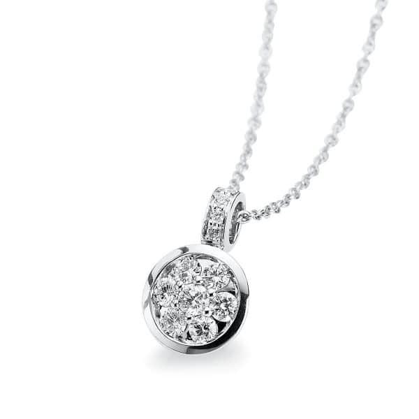 14 kt fehérarany nyaklánc 9 gyémánttal 4A555W4-1