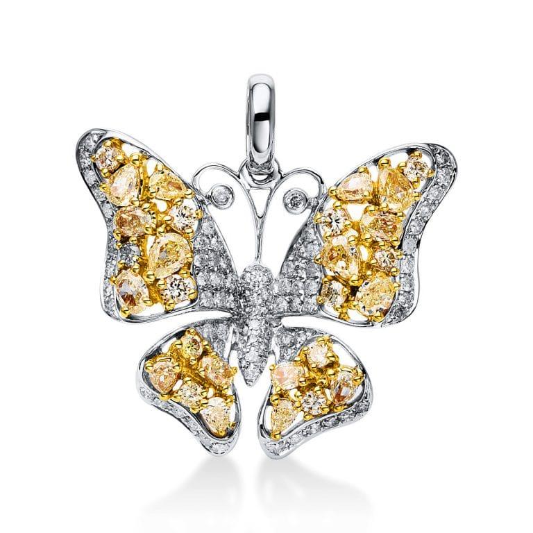 14 kt fehérarany / sárga arany medál 111 gyémánttal 3D592WG4-1