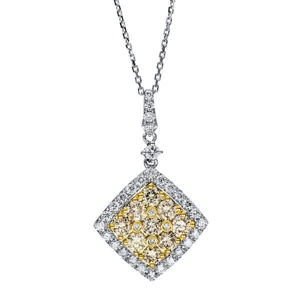 14 kt fehérarany / sárga arany nyaklánc 46 gyémánttal 4F562WG4-1