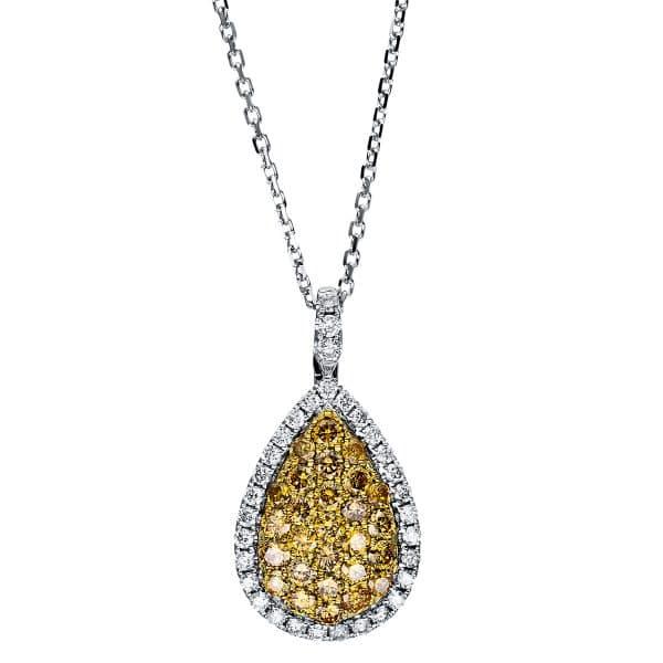 14 kt fehérarany / sárga arany nyaklánc 63 gyémánttal 4F426WG4-1