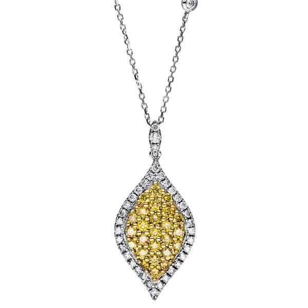 14 kt fehérarany / sárga arany nyaklánc 64 gyémánttal 4F429WG4-1