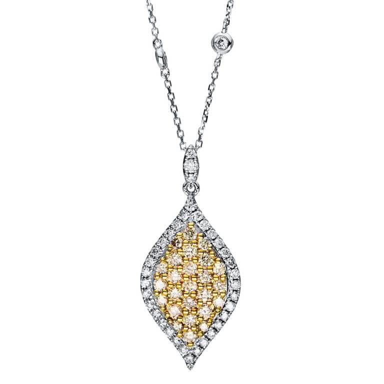 14 kt fehérarany / sárga arany nyaklánc 64 gyémánttal 4F430WG4-1