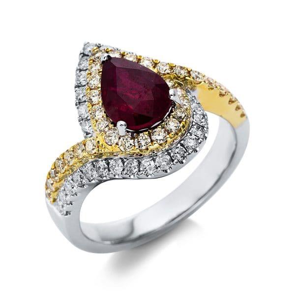 14 kt fehérarany / sárga arany színes drágakő 67 gyémánttal
