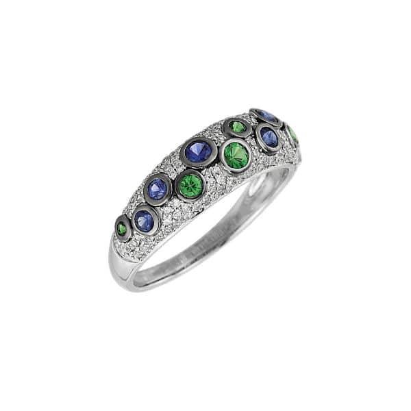 14 kt fehérarany színes drágakő 117 gyémánttal