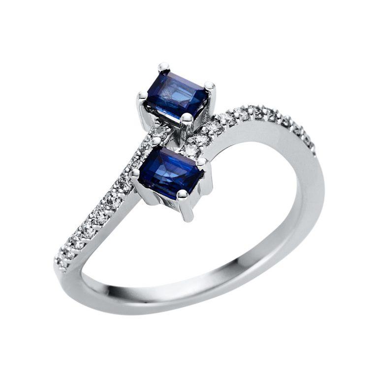 14 kt fehérarany színes drágakő 20 gyémánttal
