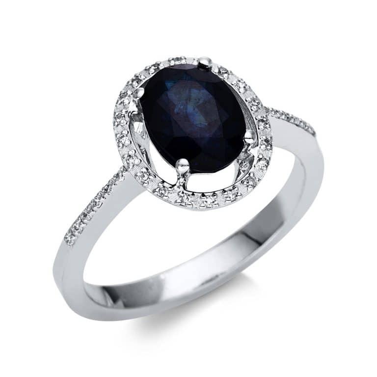 14 kt fehérarany színes drágakő 32 gyémánttal