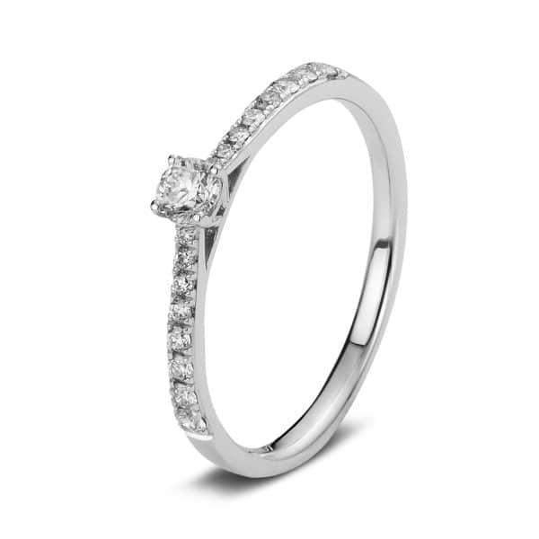 14 kt fehérarany szoliter oldalkövekkel 17 gyémánttal 1A423W454-12