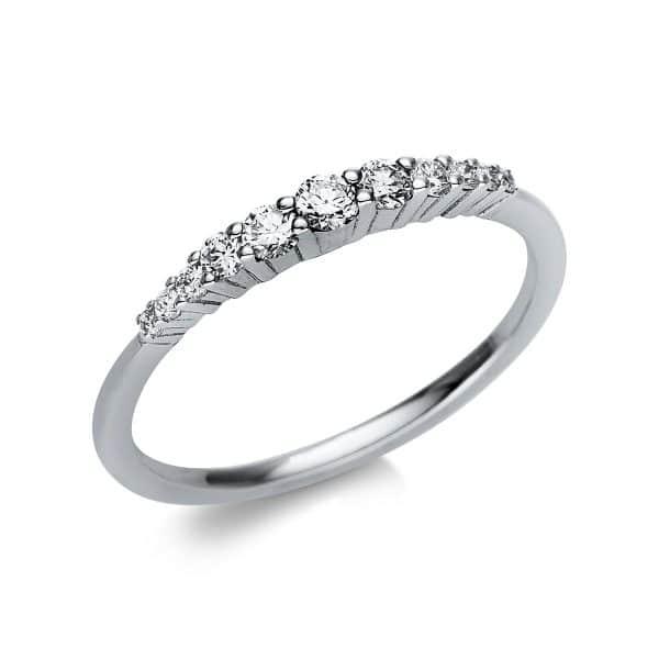 14 kt fehérarany több köves gyűrű 11 gyémánttal 1T772W454-1