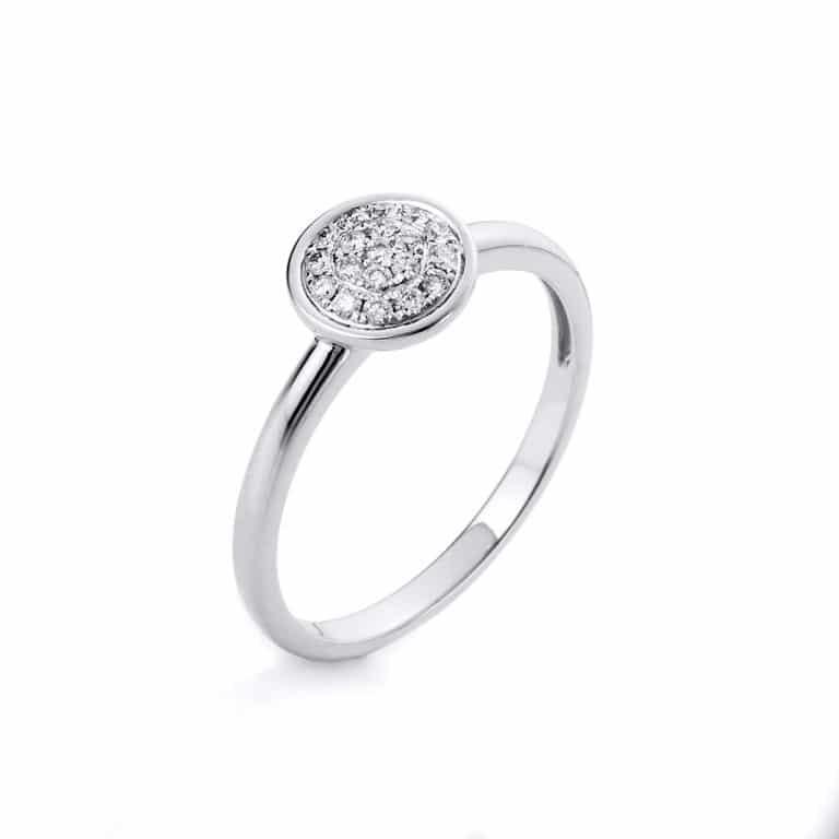 14 kt fehérarany több köves gyűrű 19 gyémánttal 1A527W454-1