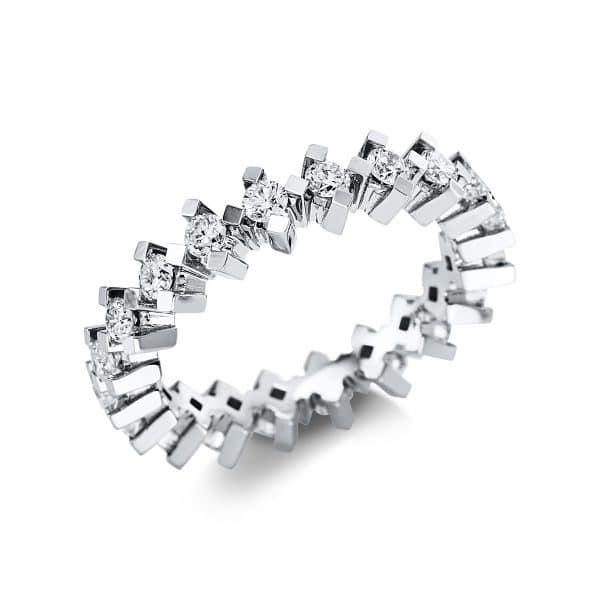 14 kt fehérarany több köves gyűrű 20 gyémánttal 1V587W453-1