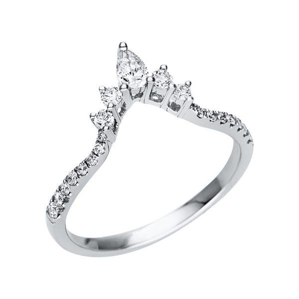 14 kt fehérarany több köves gyűrű 21 gyémánttal 1P710W454-1