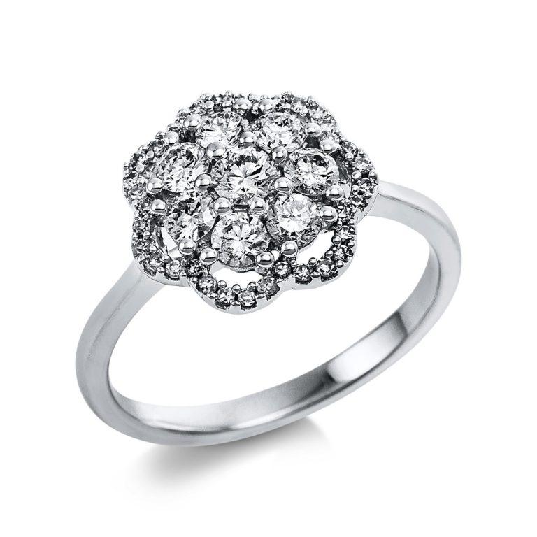 14 kt fehérarany több köves gyűrű 43 gyémánttal 1V645W454-1