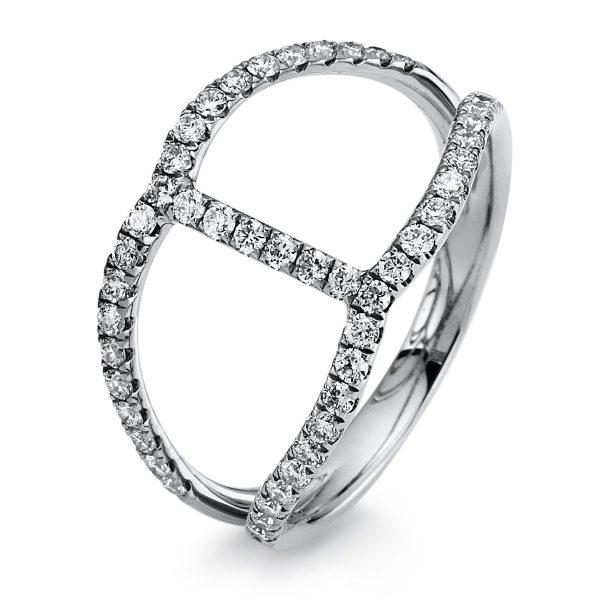 14 kt fehérarany több köves gyűrű 48 gyémánttal 1B413W454-1