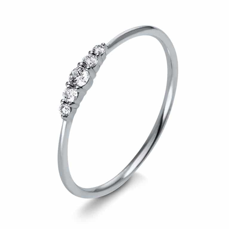 14 kt fehérarany több köves gyűrű 5 gyémánttal 1K122W454-6
