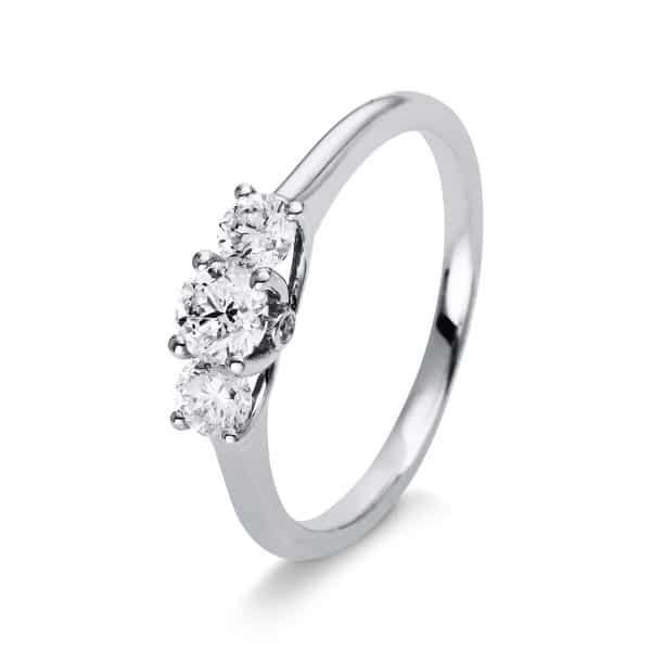 14 kt fehérarany több köves gyűrű 5 gyémánttal 1L807W453-8