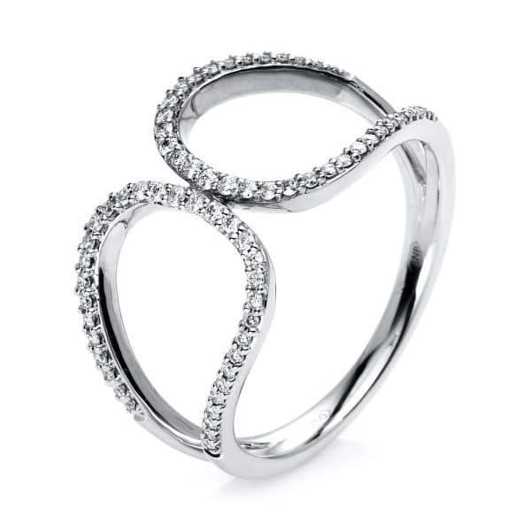 14 kt fehérarany több köves gyűrű 66 gyémánttal 1E631W453-1