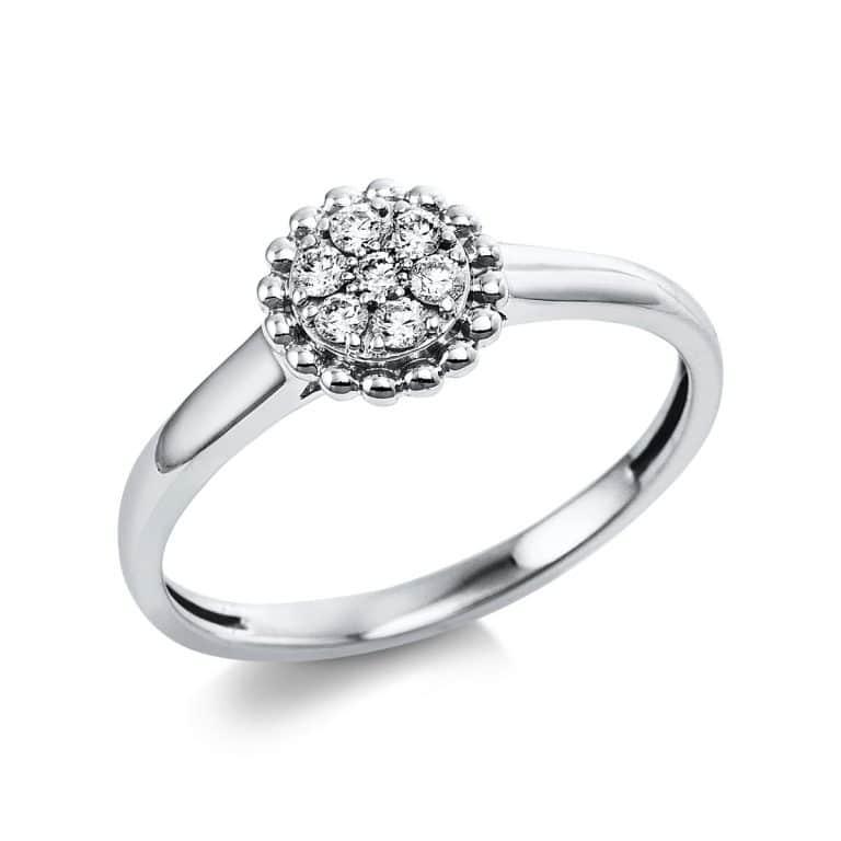 14 kt fehérarany több köves gyűrű 7 gyémánttal 1V659W454-1
