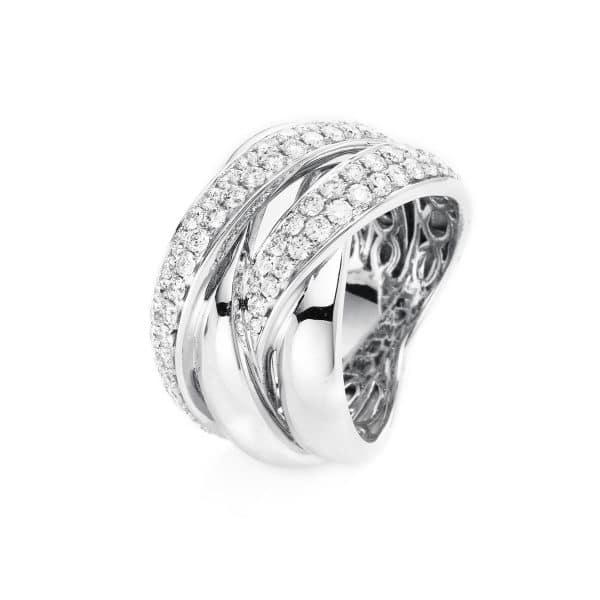 14 kt fehérarany több köves gyűrű 77 gyémánttal 1H137W455-1