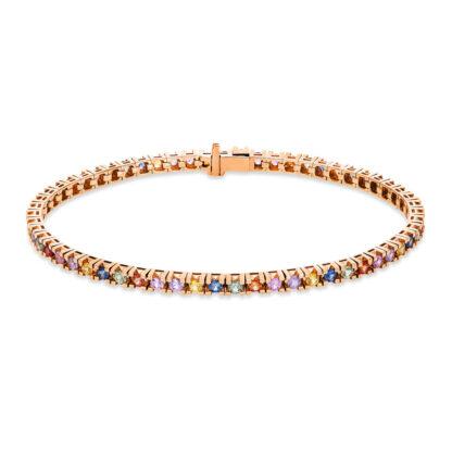 14 kt red gold bracelet with 59 color stones 5B960R4-1