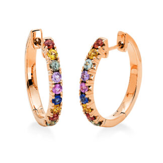 14 kt red gold hoops & huggies with 18 color stones 2I871R4-1