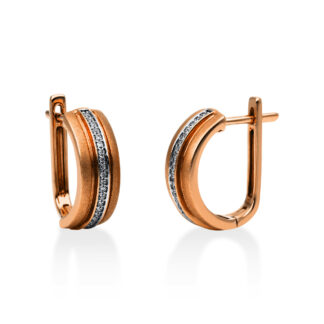 14 kt red gold hoops & huggies with 42 diamonds 2A085R4-1