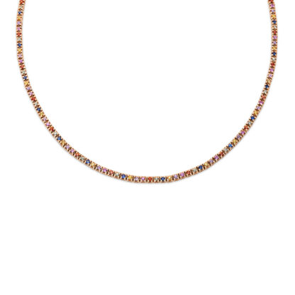 14 kt red gold necklace with 147 color stones 4F299R4-1
