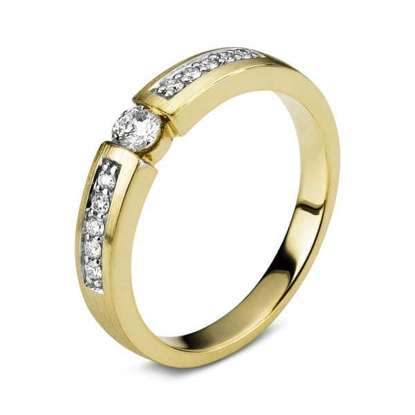 14 kt sárga arany / fehérarany szoliter oldalkövekkel 11 gyémánttal 1A407GW454-1