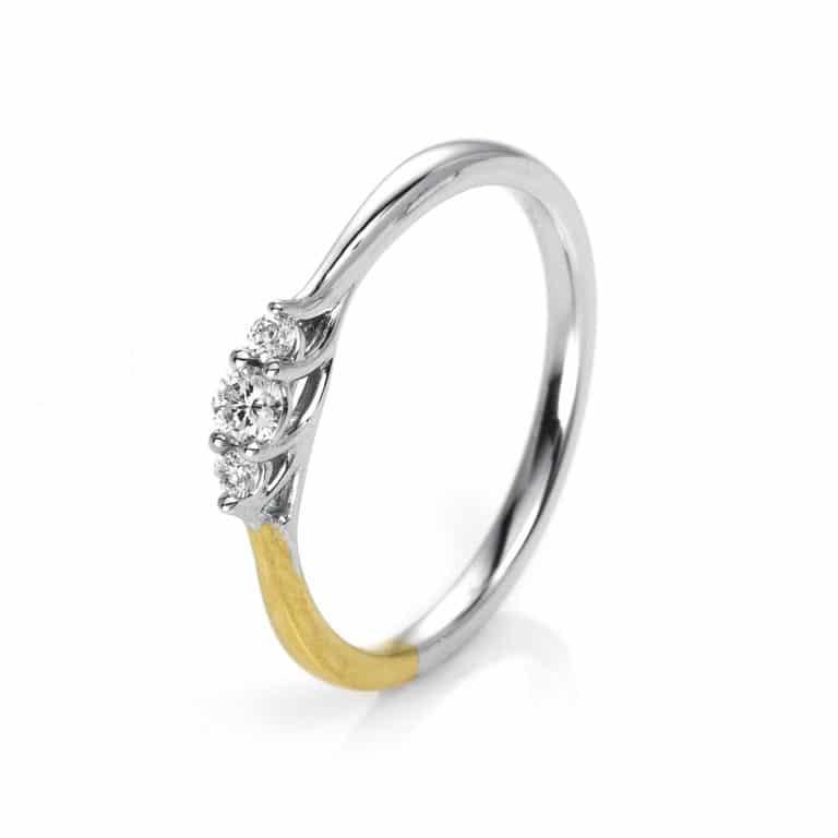 14 kt sárga arany / fehérarany több köves gyűrű 3 gyémánttal 1I706GW454-2