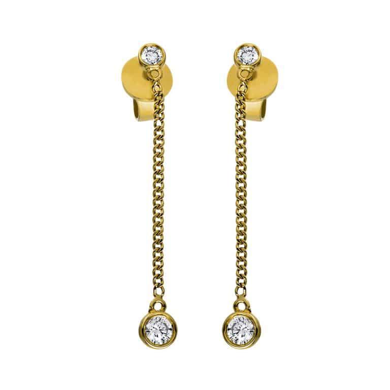 14 kt sárga arany fülbevaló 4 gyémánttal 2G810G4-1