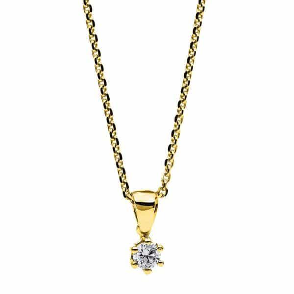 14 kt sárga arany nyaklánc 1 gyémánttal 4A709G4-1