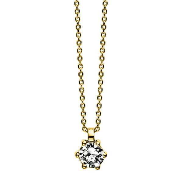 14 kt sárga arany nyaklánc 1 gyémánttal 4D280G4-4
